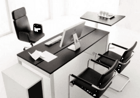 Black and white office desk and chairs