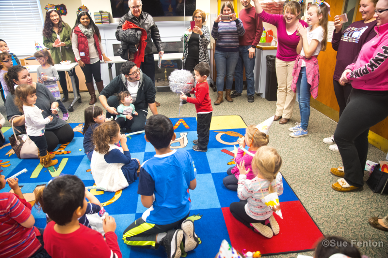 Pre-school children attending a New Year's Eve Party at the public library