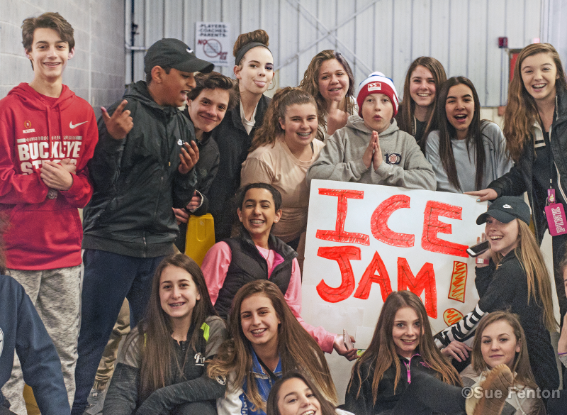 Kids posing for photo at Ice Jam event