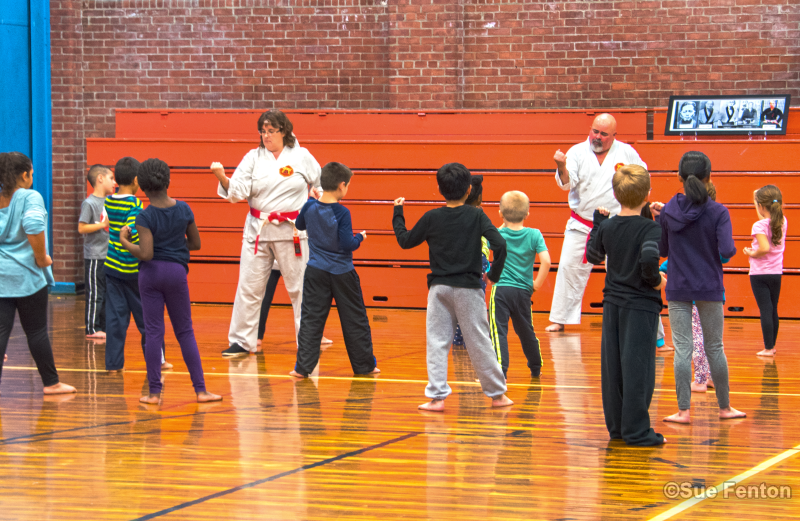 Children in karate class