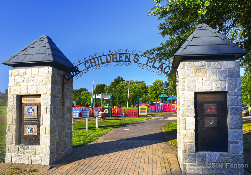 Entrance to Our Children's Place playscape area located in Mill Pond Park