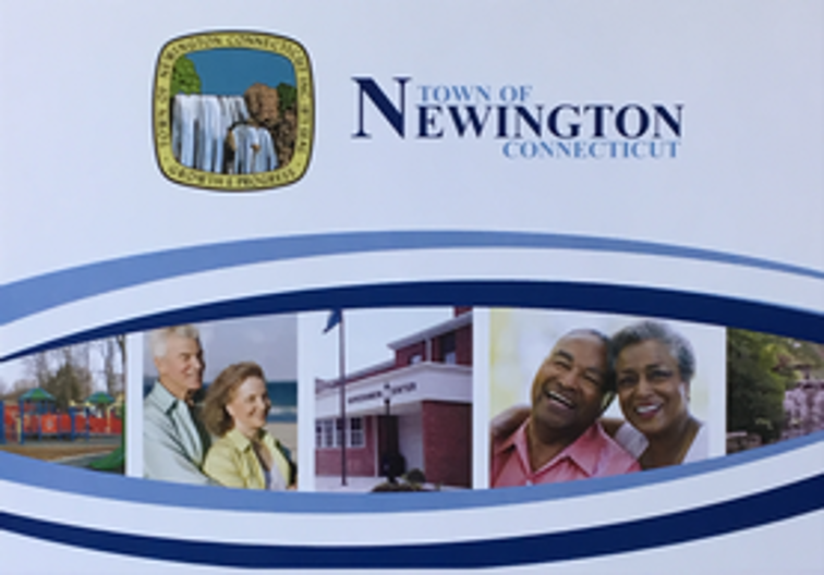Pension Report Cover page with Town Seal and pictures of smiling retired couples
