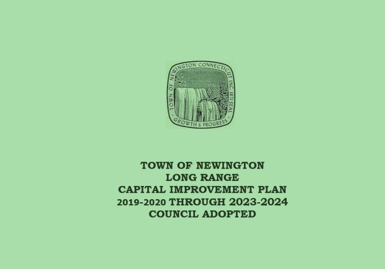 Town Logo with Capital Improvement Plan 2018-19 on Blue background