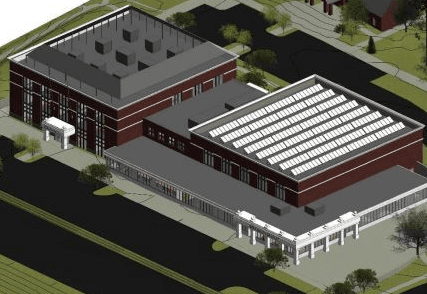 Conceptual drawing of Town Hall & Community Center Building