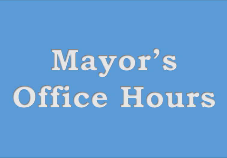 Sign with blue background saying Mayor&#39s Office Hours