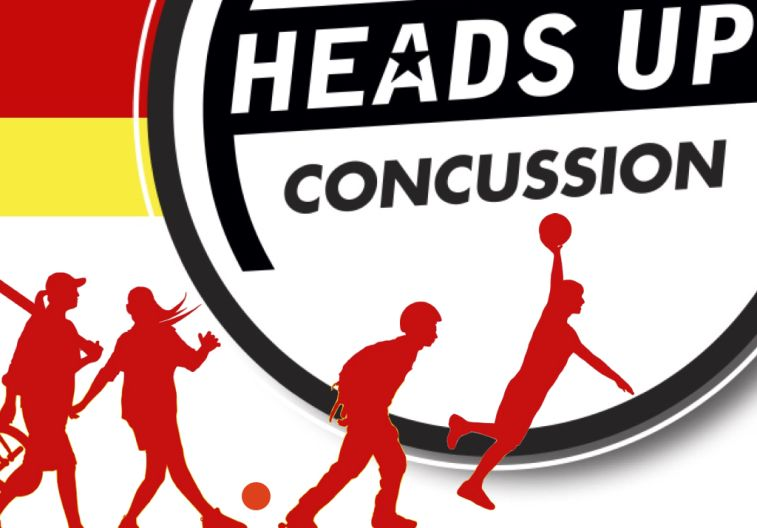 Heads Up Concussion brand photo of multiple outlines of people playing different sports