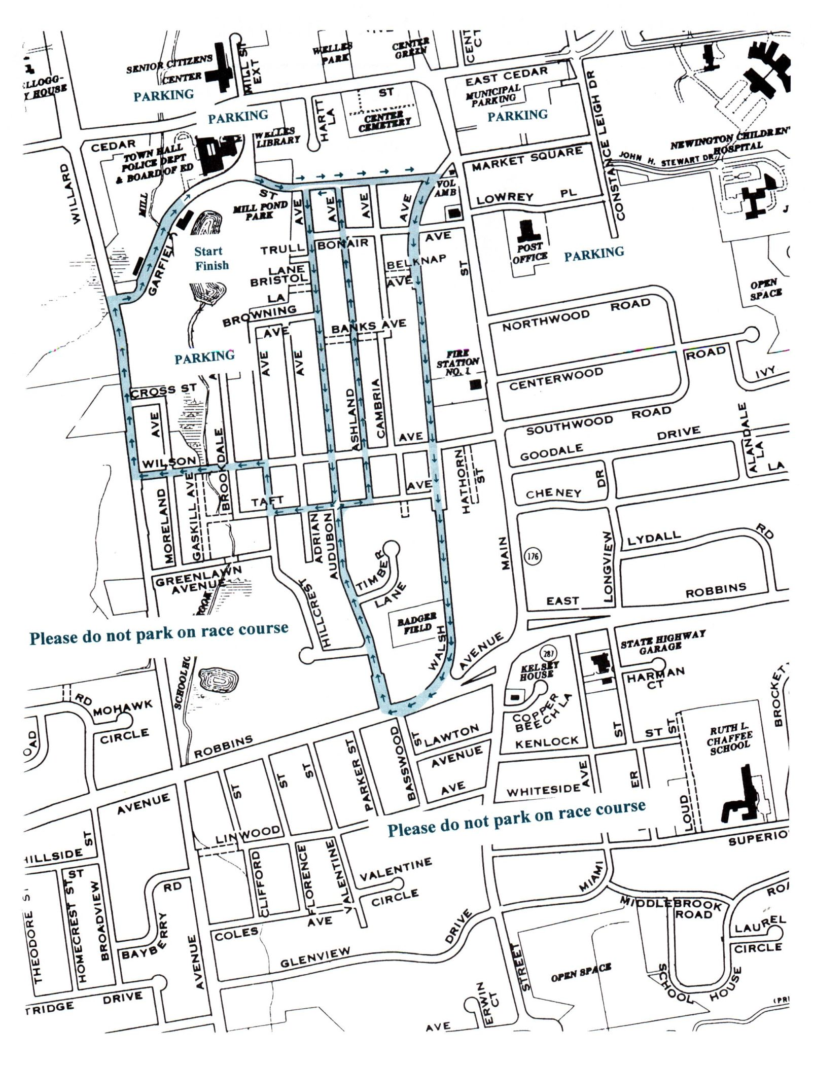 Newington Library 5K Challenge road race map