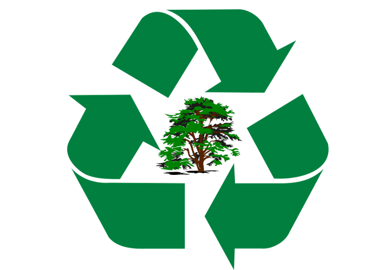 recycling symbol with tree