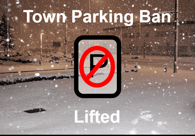 No parking sign with snowing background saying parking ban lifted