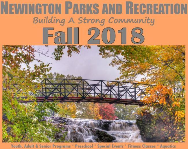 Fall 2018 Program Guide Cover with picture of changing colored leaves over Mill Pond Park bridge at