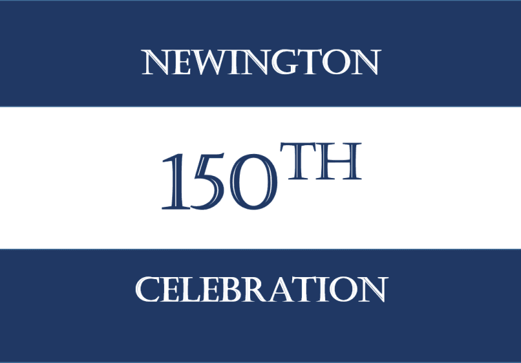 Blue and white banner with Newington 150th celebration