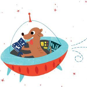 Dog reading book in spaceship