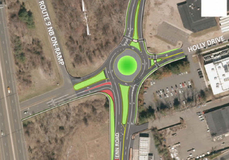Road plan for proposed rotary at intersection of Fenn Rd, Holly Dr, and Ella Grasso Blvd
