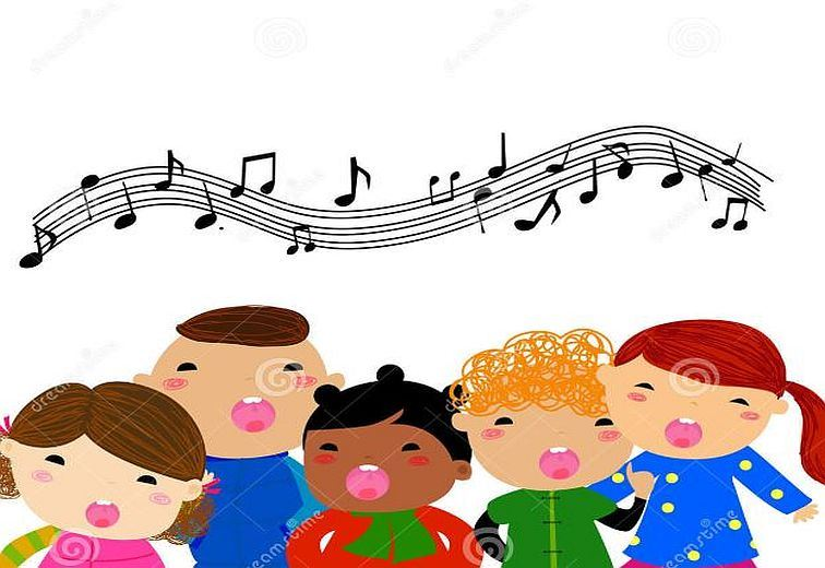 Clip art of five young children singing with music notes above