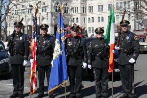 Police Department honor guard in front of state capital