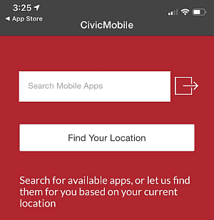 Picture of Town Search Screen in Civic Mobile App